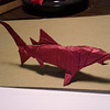 "Blue shark, diagrammed in Lang & Montroll's ""Origami Sea Life""<br /> folded out of 12"" tissue foil"
