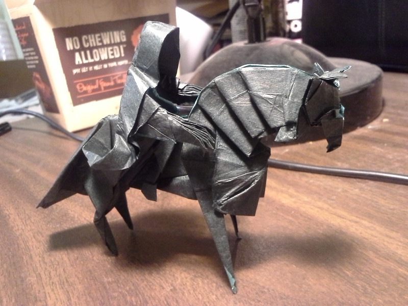 Origami Nazgul, designed and diagrammed by Jason Ku.<br /> Folded out of 38cm black/green double-tissue paper
