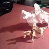 "Jason Ku's Nazgul, folded in 15"" baking parchment and Montroll's horse with rider, folded in 7"" brown double-tissue.."