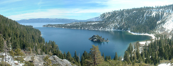 This was the result of three photos spliced together at the viewpoint over Emerald Bay
