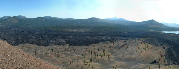 This is a seven shot composite overlooking the painted dunes and fantastic lava beds as seen from Cinder Cone in Lassen NP