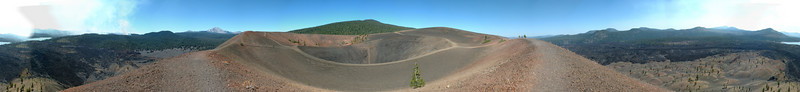 This is 23 photos at the summit of Cinder Cone in Lassen NP. Mt Lassen is just left of the middle where the crater meets the horizon.