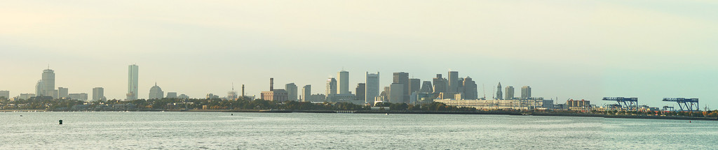 A view of the Boston Skyline from the JFK presidential library (8 shots)
