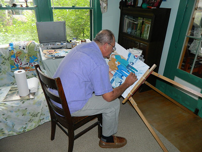 Had to tilt the easel to get the right position to lay in some detail on the clothing, afternoon of  june 4, 2012