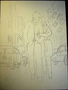 1185 Freewheelin' Bob Dylan and Suze Rotolo, 1st sketch, june 2, 2012 CIMG7246