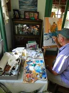 """Staring to """"flesh out"""" the roughed-in areas - here, working on the VW bus., afternoon of june 5, 2012."""