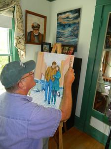 1210  Freewheelin' Bob Dylan and Suze Rotolo, 18x24 oil, progress, june 5, 2012 DSCN1210