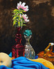 "Materials Study, 2006<br /> <br /> One of my first color still life paintings based on real objects rather than from reference images of old masters.  Additionally, this was the first painting I used fluid acrylics on to create glazes and washes for building up or toning down hue and intensity.  I'm especially pleased with the way the copper and green glass stopper turned out using this method.<br /> <br /> Golden acrylics on 16"" X 20"" canvas panel<br /> <br /> Original now part of the D. Anderson collection"