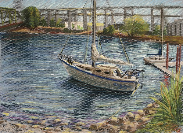 "2007 Portland Waterfront Series #3 of 3 (12"" X 16"")<br /> Prismacolor soft pastel on light blue Canson Mi-Teintes pastel paper<br /> Original now part of the Tsongas Litigation Consulting, Inc. collection in Portland, Oregon"
