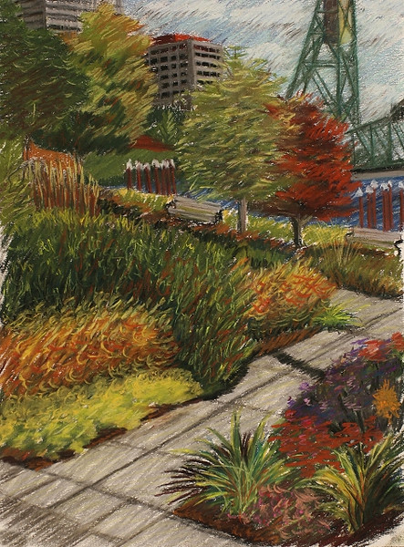 "2007 Portland Waterfront Series #1 of 3 (16"" X 12"")<br /> Prismacolor soft pastel on white Canson Mi-Teintes pastel paper<br /> Original now part of the Tsongas Litigation Consulting, Inc. collection in Portland, Oregon"