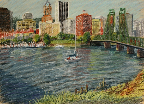 "2007 Portland Waterfront Series #2 of 3 (12"" X 16"")<br /> Prismacolor soft pastel on yellow Canson Mi-Teintes pastel paper<br /> Original now part of the Tsongas Litigation Consulting, Inc. collection in Portland, Oregon"