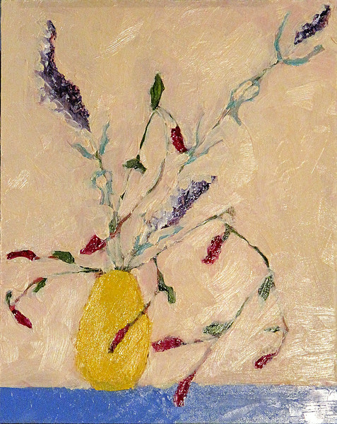 Still Life with Yellow Vase and Dried Flowers