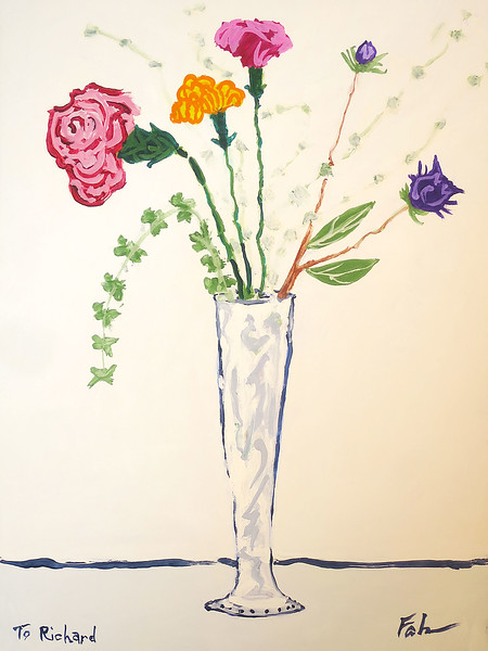 Arrangement in Glass and Silver Vase
