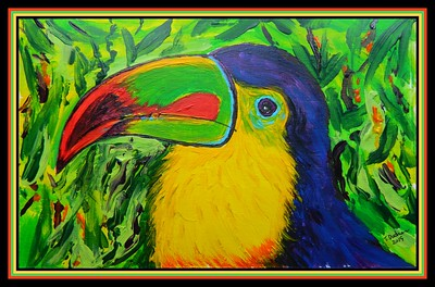 1-Keel-billed Toucan, Central America. 6x9, acrylic on paper, jan 18, 2019.