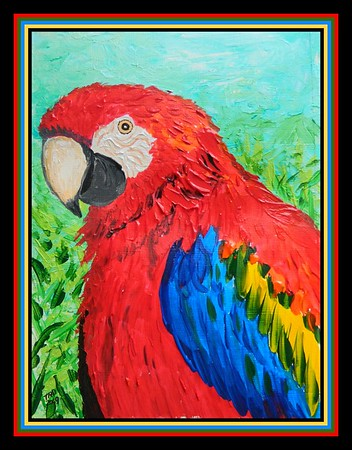 1- Scarlet Macaw, Ara macao, 6x8, acrylic on paper, may 9, 2019.DSCN9989A-XL