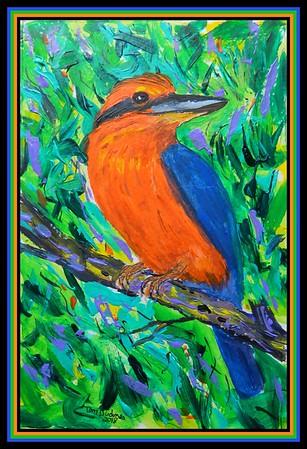 1-Guam Kingfisher,Todiramphus cinnamominus. 150x230nn, acrylic & ink, oct 27, 2018.