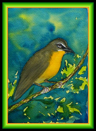 Yellow-breasted Chat, 5x7, watercolor, March 1, 2018.