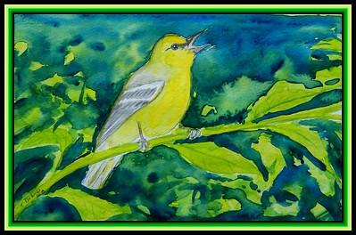 1-Blue-winged warbler, 8x5.5, watercolor & ink, feb 21, 2018.