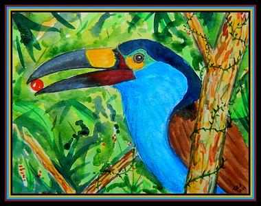 1-Plate-billed Mountain Toucan, 7x5.5, watercolor, color pencil & ink, oct 25, 2019