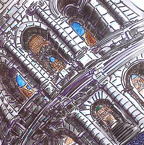 """I Call 'em As I See 'Em"" (2011) Watercolor/pen & ink 12"" x 12"" Drawn & painted from outside the Colosseum, Roma 500."