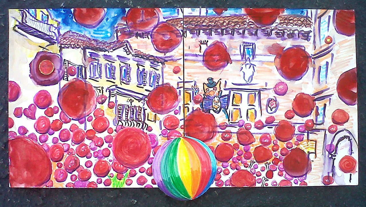 """Clown e Clown Finale (2011) Watercolor/pen & ink 12"""" x 24"""" Painted on stage for the Finale Price available on request"""