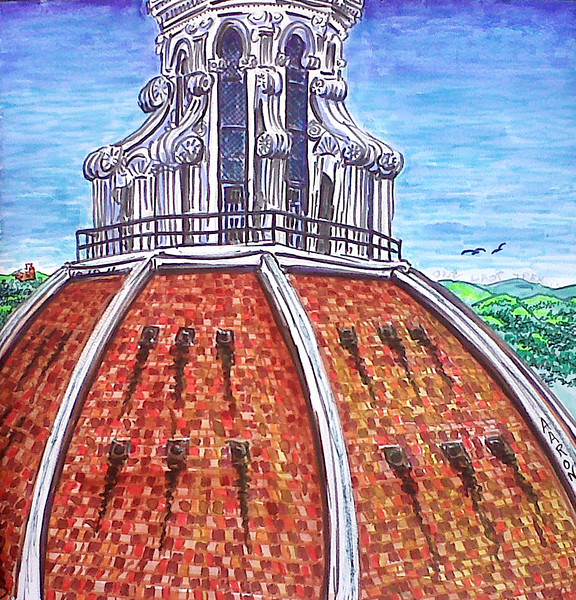 """""""Duomo 3- One last trek"""" (2010-11) Watercolor/pen & ink 12"""" x 12"""" Drawn & painted from Giotto's Campanile Price available on request"""