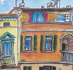 "Syracuse University, Florence # 15 (2011) Watercolor/pen & ink 12"" x 12"" Private Collection, Firenze, IT"