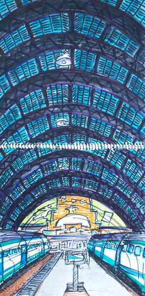 """Milano Tren (2010) Watercolor, Pen & Ink 24"""" x 12"""" Price on request."""