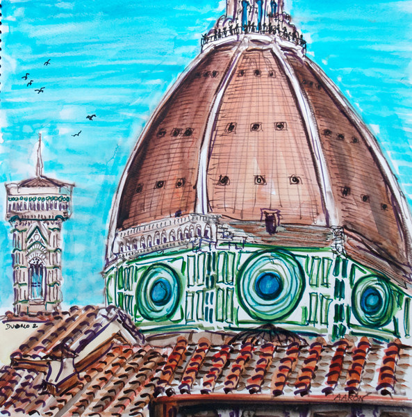 """""""Duomo 2"""" (2010-11) Watercolor/pen & ink 12"""" x 12"""" Drawn & painted from The Oblate Price available upon request"""