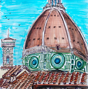 """Duomo 2"" (2010-11) Watercolor/pen & ink 12"" x 12"" Drawn & painted from The Oblate Price available upon request"