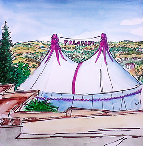 "PalaFabi Tent (2011) Watercolor/pen & ink 12"" x 12""  Price available on request"