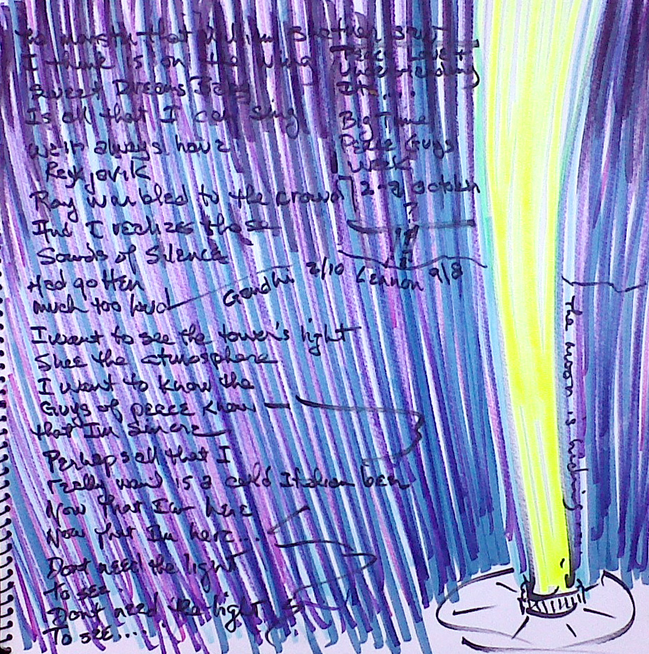 "Yoko's and John's Light Tower (2010-11) Watercolor, Pen & Ink 12"" x 12"" Price on request."