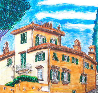 "Villa Fasola (2010) Watercolor, Pen & Ink 12"" x 12"" Private collection: Firenze, IT"