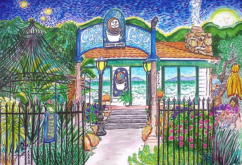 "Cafe Luna (2011) Watercolor, Pen & Ink 15"" x 22"" Collection: Cafe Luna, Summerland, CA"