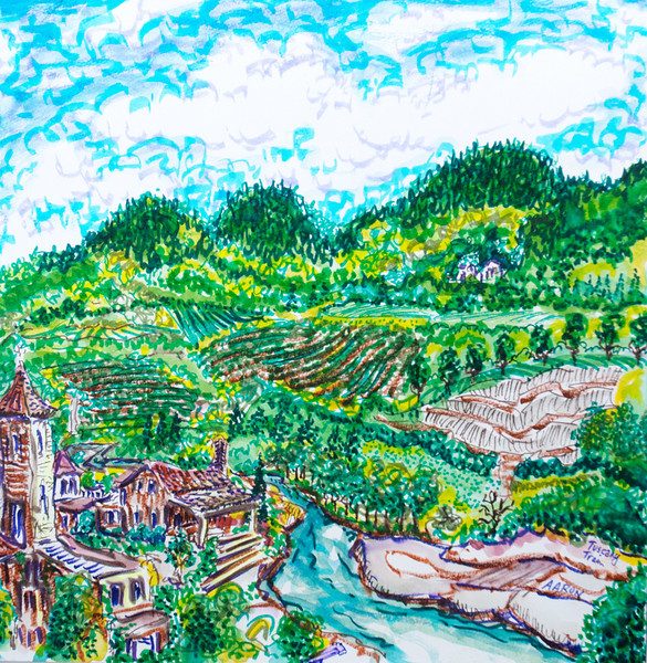 Tuscany Train (2010) Watercolor, Pen & Ink Whereabouts Unknown