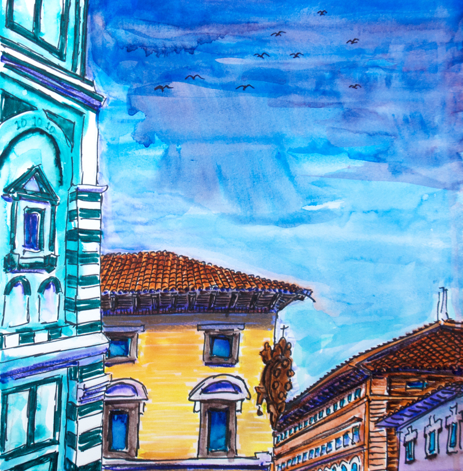 """Batisterie, Medici (2010) Watercolor, Pen & Ink 12"""" x 12"""" Price on request."""