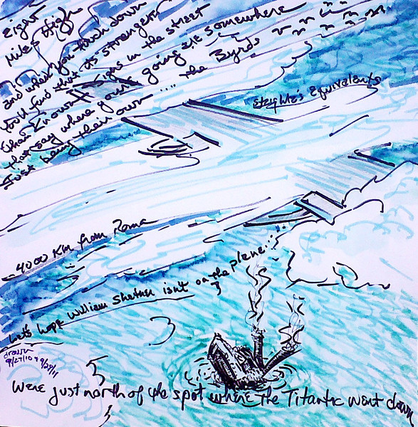 "Just North of Where the Titanic Went Down... (2010-11) Watercolor, Pen & Ink 12"" x 12"" Price on request."