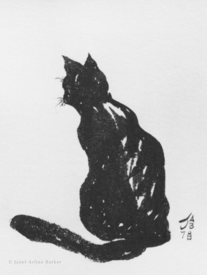 Curious black cat-print