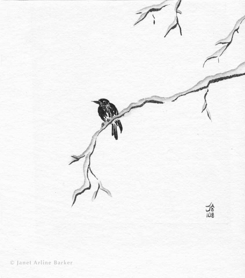 bird on snowy branch-print
