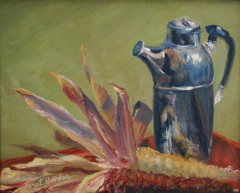 Silver Pitcher with Corn