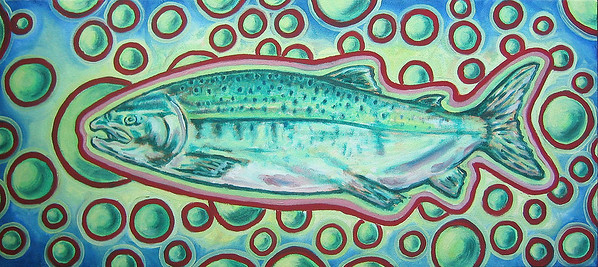 Electric Salmon, Oil on canvas, 2004