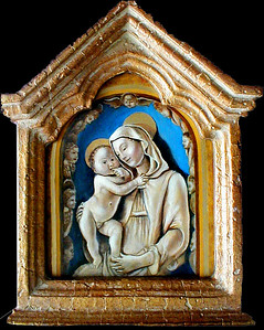 "6.5"" x 8"" Reproduction of Luca della Robbia (1400-1482).  Oil on masonite.  Framed only $195.00"