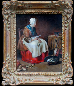 """Woman Peeling Vegetables""  Chardin (c.1738)  8x10 oil on stretched canvas  $165 unframed, $205 framed."