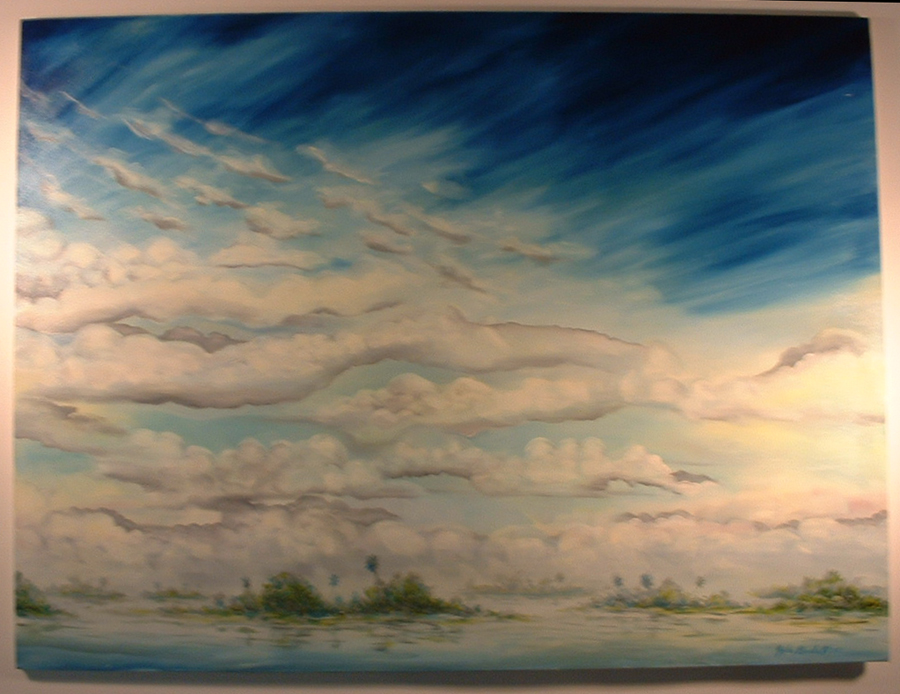 """©John Rachell Title: Everglades Image Size: 48""""w X 36""""d Dated: 1994 Medium & Support: Oil Paint on Canvas Signed: LR Signature"""