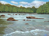 An original oil painting of the Ledges Whitewater Park in Alexander, NC