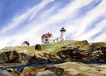 Nubble Light- I wanted to paint a different view across the rocks of this familiar landmark in Maine.