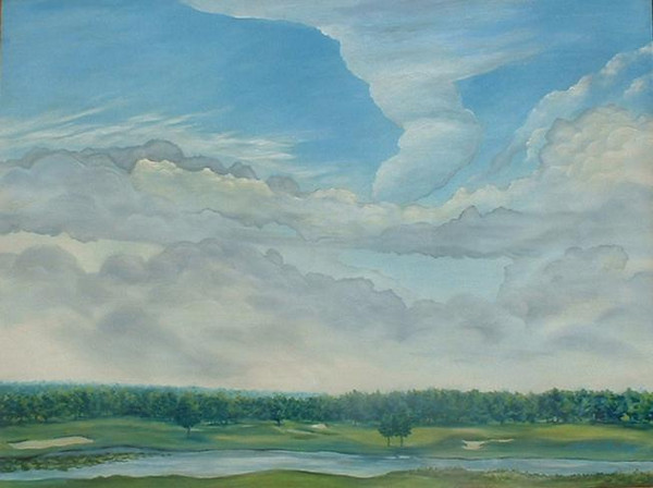 "©John Rachell Title: Tee View #1 Image size: 48"" w X 36"" d Dated: 1994 Medium & Support: Oil on canvas Signed: LR Signature"