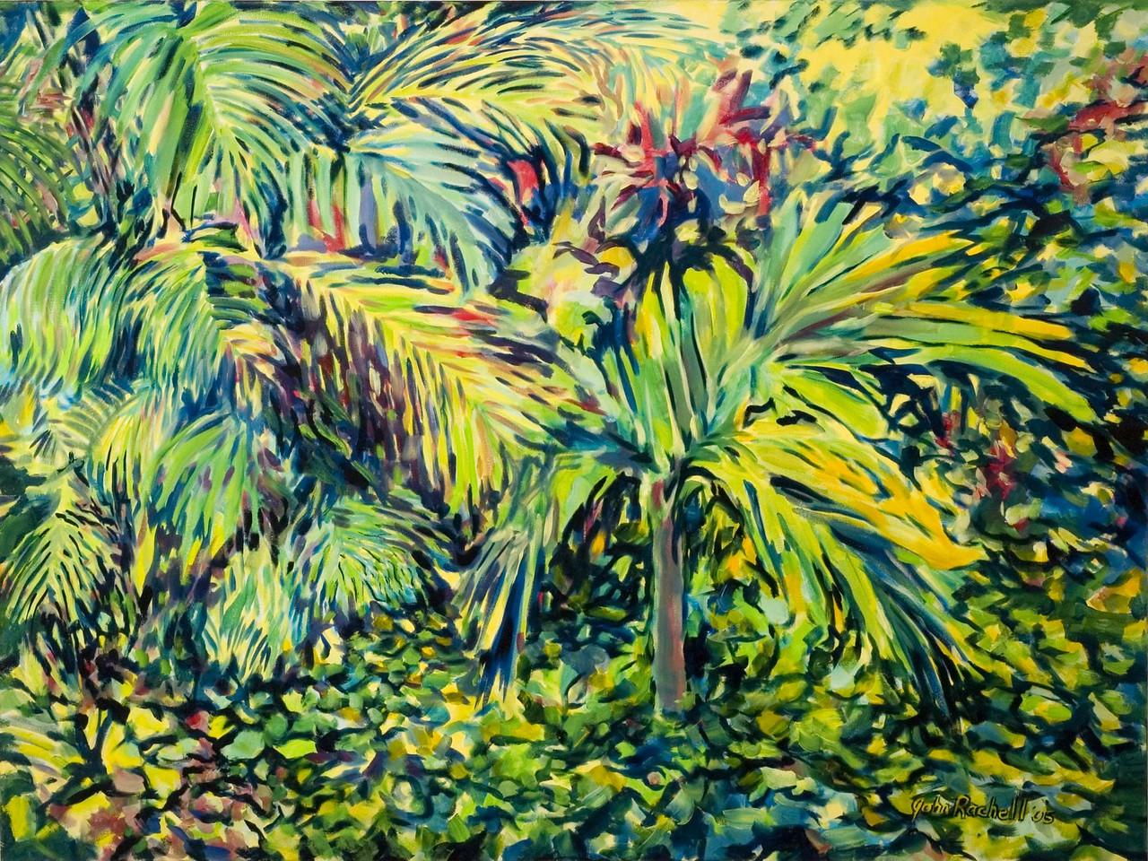 "©John Rachell  Title: The Garden, September 5, 2005 Image: 48""w X 36""d Dated: 2005 Medium & Support: Oil paint on canvas Signed: LR Signature"