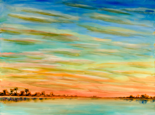 """©John Rachell Title: The Sky Image Size: 48""""w X 36""""d Date: 2006 Medium & Support: Oil paint on canvas Signed: LL Signature"""