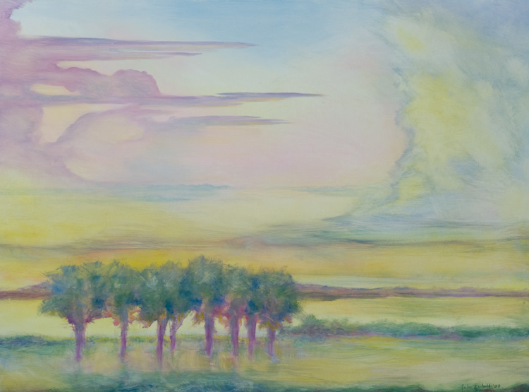 """© 2009 John Rachell Title: Sky, June 20, 2009 Image Size: 48"""" w by 36"""" d Dated: June 20, 2009 Medium & Support: Oils on Linen Signed: LR Signature"""